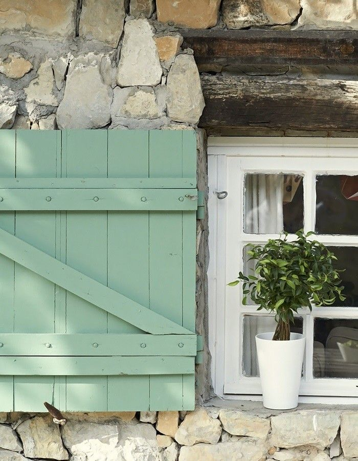 Rustic French Green Board and Batten Shutter, Gardenista