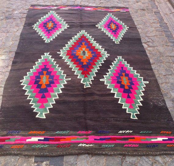 Turkish Kilim Rug, Vintage Area Rug, Decorative Black Pink