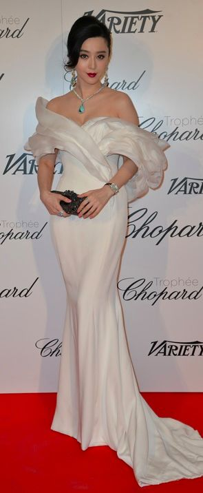 Fan Bingbing In Ralph & Russo Couture at Trophée Chopard with jewery by jαɢlαdy #Cannes #2015