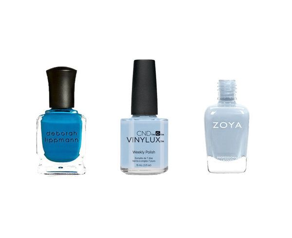 In addition to picking the right shade of blue, nail shape is also very important to avoid looking like a teenager. For a more elegant and mature look, try an almond-shaped nail. Individuals with warm undertones should look for blues that are deeply pigmented, and a soft pastel blue will look best on those with cool tones.  Try: Deborah Lippmann Video Killed the Radio Star, $18, CND Vinylux Creekside Weekly Polish (check your local salon/spa for availability and price) and Zoya Kristen, $9