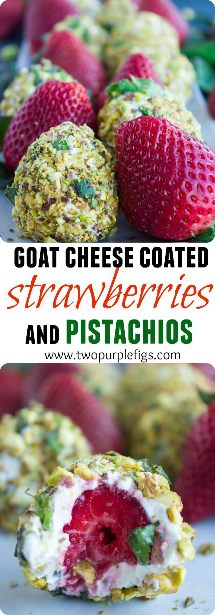 Goat cheese Pistachio Coated Strawberries. A  bite of fruit and cheese BLISS with a pistachio crunch! Each bite is sweet, crunchy, fresh, refreshing and bursting with flavors! This recipe has been a real HIT every single time! www.twopurplefigs.com