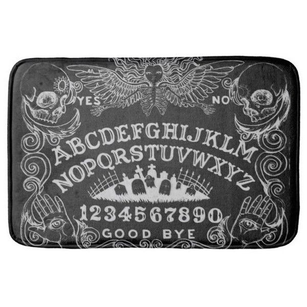 Ouija Board Black Angel of Death Bath Mat Rug (€25) ❤ liked on Polyvore featuring home, bed & bath, bath, bath rugs, black memory foam bath mat, memory foam bathroom mats, memory foam bath mat, memory foam bathroom rug and black bath mat