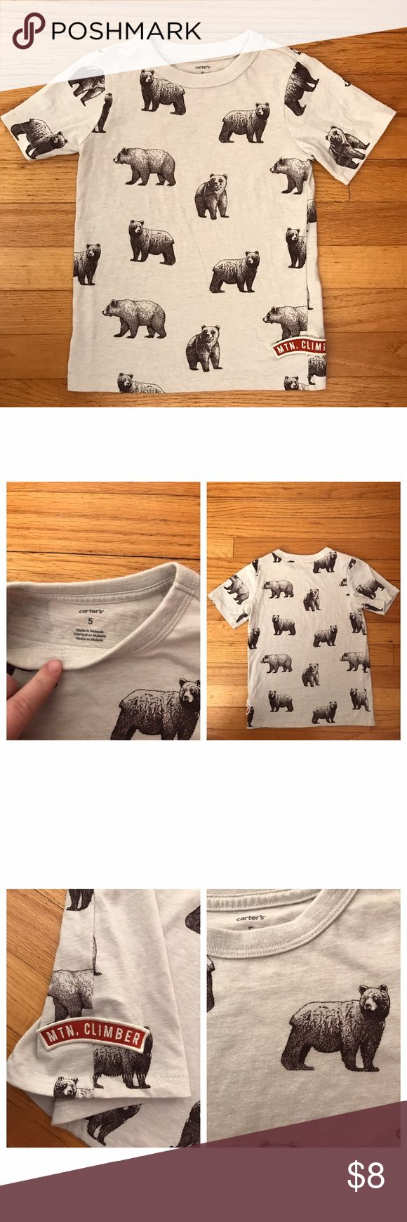 🐻carter's bear print shirt size 5 boys Carter's Bear Print Short sleeve Shirt  Size 5 Boys  Details:  Short Sleeve Shirt  Size 5  CUTE MTN. Climber Patch on Side of Shirt-see Pix  Bear Print all over and back of shirt  Only worn to school 2 or 3 times at the most  **Please note: The fabric has a Pile(?) Look to it, I bought it this way at the carter's store and they were all like it, It's just the way the fabric is blended. See last pic of close up Very lightly worn as only worn to school…