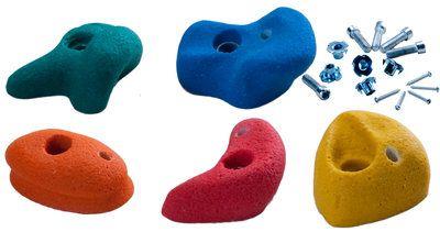 Klimstenen Klein set van 5 stuks multicolor   Afmeting c.a. : 86x86mm Vervaardigd uit kunsthars. Met ingewerkte metalen ring. Kleuren: Geel-rood-blauw-oranje-groen (elk set bevat 5 stenen met d...