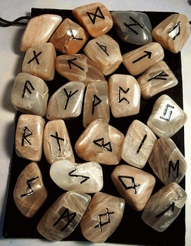 Moonstone Rune Set - Polished and Hand Carved - pagan wiccan witchcraft magick ritual supplies