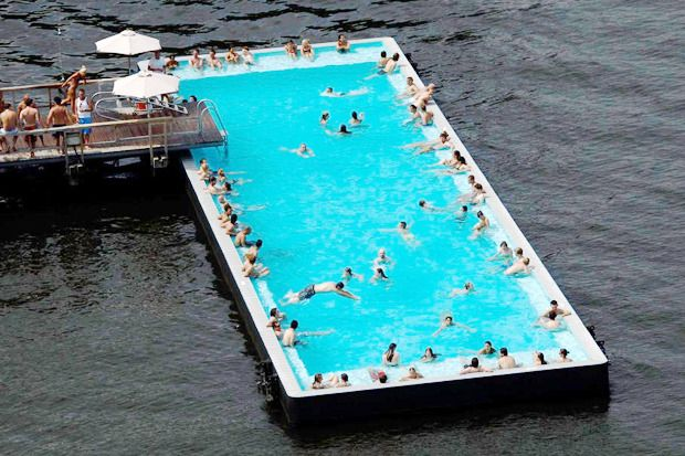 Badeschiff (Bathing Ship), a pool floating on a river in Berlin, Germany
