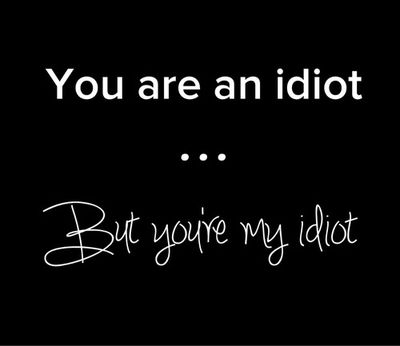 (You are an idiot who happens to have a reasonable amount of intelligence. You are also mine. Do not argue this.)