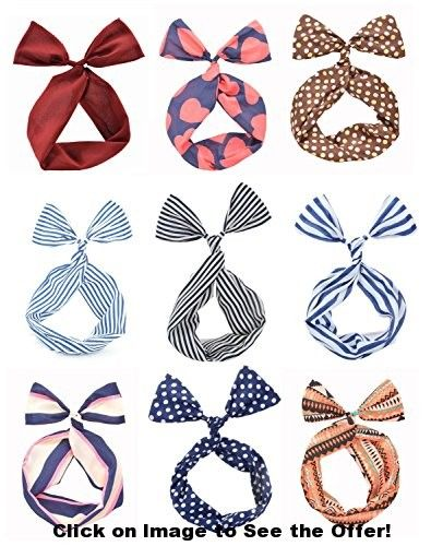 Cloris Twist Bow Wired Headbands Scarf Wrap Hair Accessory(9 Pack)