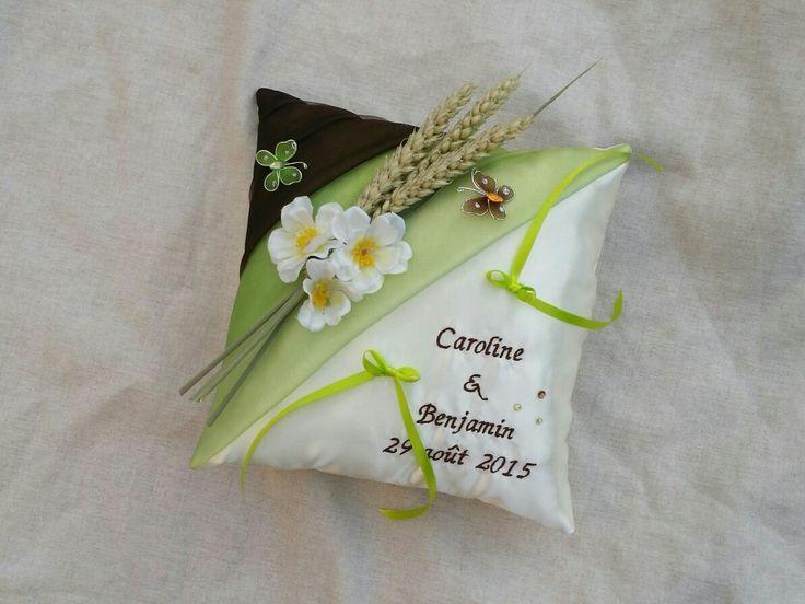Coussin alliance champêtre blé papillons