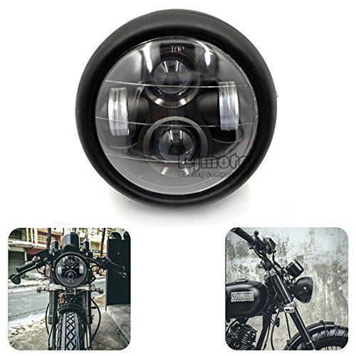 "BJ Global Motorbike headlamp LED 6 1/2""lamp Projector Daymaker Headlight for Cafe Racer Bobber/for harley bike (Chrome): Amazon.co.uk: Car & Motorbike"
