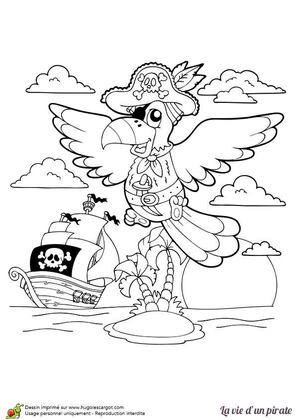 Un perroquet pirate volant vers son bateau, à colorier.