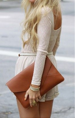 The clutch: Street Fashion, Style, Outfit, White Lace, The Dresses, White Rompers, Cream, Bags, Envelopes Clutches
