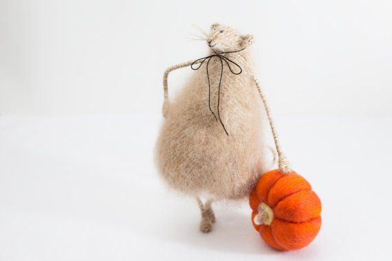 Harvest Rat with a Pumpkin-Mohair Knitted Rat-Autumn/Fall Home Decoration-Halloween/Thanksgiving Ornament-Interior Decor-Soft Rat Toy-UK