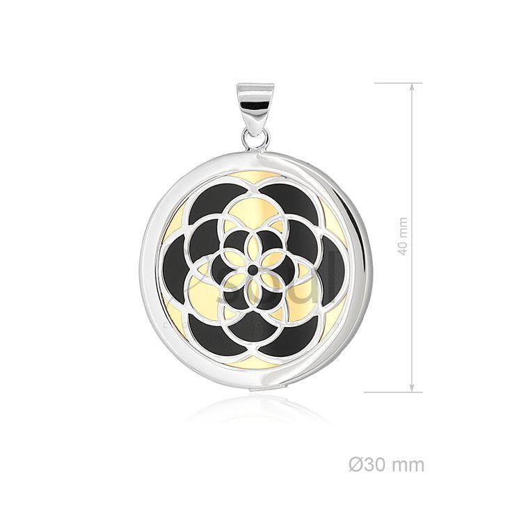 REF. 361010. Colgante Mandala. Colgante con nácar u ónix en plata de Ley.