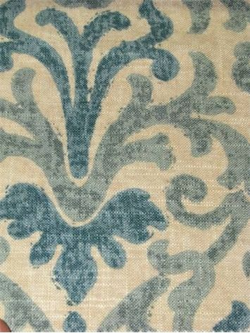 """Jaclyn Smith Fabric 02098 Lagoon.  Jaclyn Smith Home Fabric - Watercolor transitional damask print fabric, Durable, 36,000 double rubs, perfect for upholstery fabric, drapery fabric, headboards, bedspreads or pillow covers. 55% linen / 45% rayon. Repeat; H 10"""" V 16"""". 54"""" wide."""