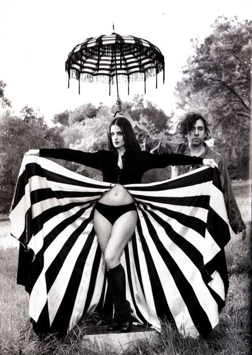 Tim Burton & Lisa Marie: Full Skirts, Lisamari, Lisa Mary Presley, Lisa Marie, Tim Burton, Stripes, Photo, Costumes Ideas, Timburton