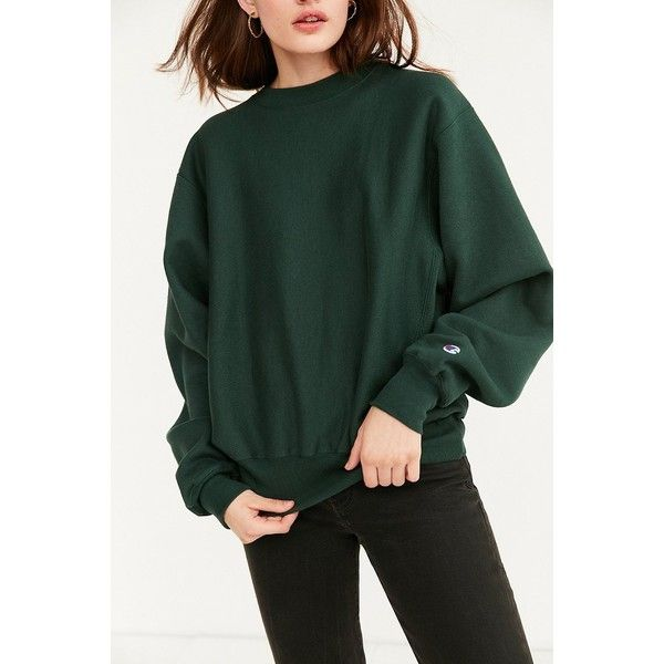 Champion Reverse Weave Crew-Neck Sweatshirt ($45) ❤ liked on Polyvore featuring tops, hoodies, sweatshirts, long sleeve sweatshirt, crew neck top, crewneck sweatshirt, long sleeve pullover and champion pullover