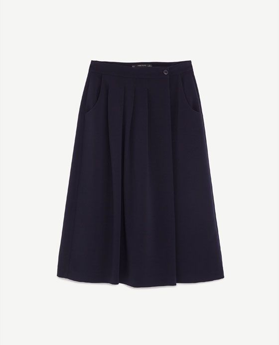 ミディ丈巻きスカート付きガウチョパンツ