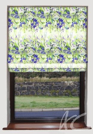 #Printworks #Flower #Garden #Indigo #Roman #Blind #Blue #Green #Floral #Pretty #New #House