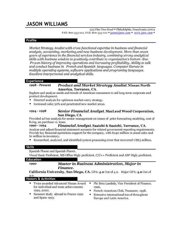 sample best resume format