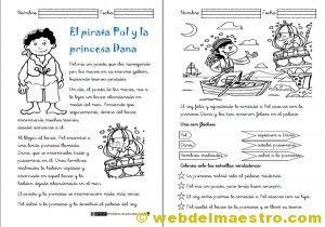 Fichas de comprensión lectora. El pirata y la princesa.