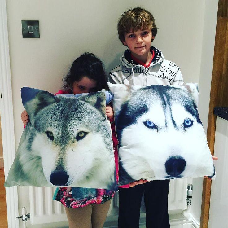 Con sus cojines nuevos para sus camas.A ver si consigo hacerle una foto a Mateo con el suyo. #thecrazyhaacks