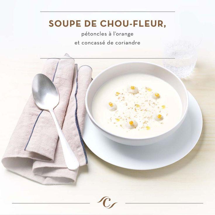 [Carte Enchantement Quotidien] Soupe de chou-fleur, pétoncles à l'orange et concassé de coriandre