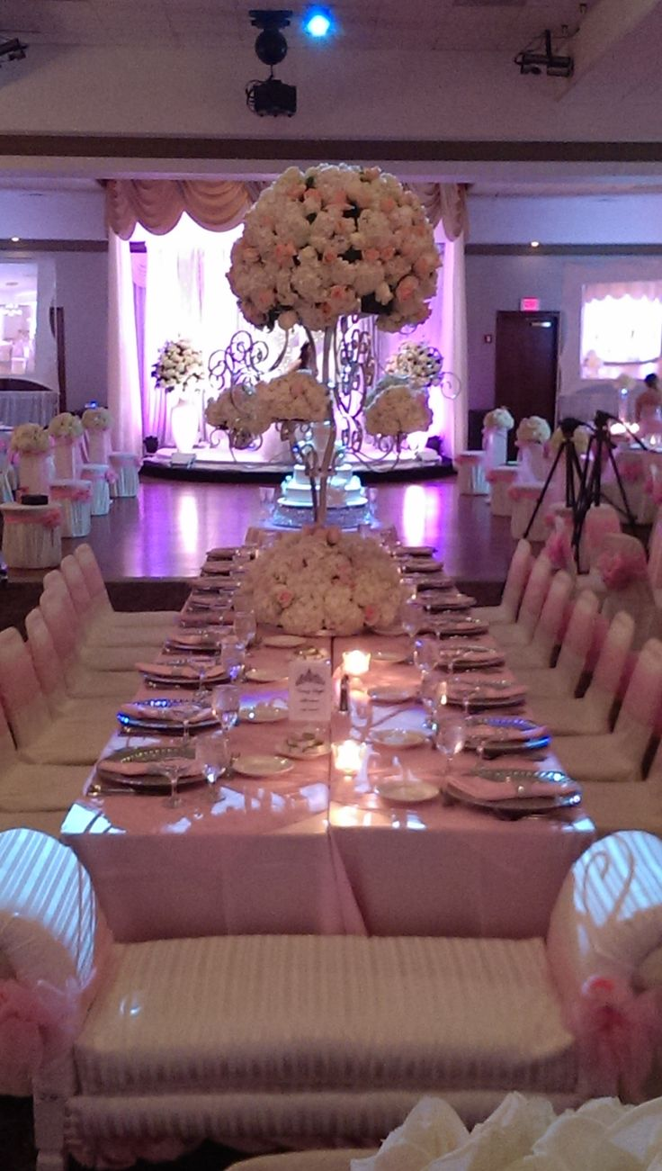 A stylish sweet 16 table setup bar bat mitzvah for Table decorations for home