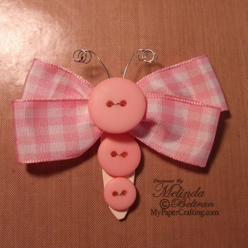 ** My Paper Crafting.com **: Selena Layout: Ribbon Butterflies - possible hair clip?