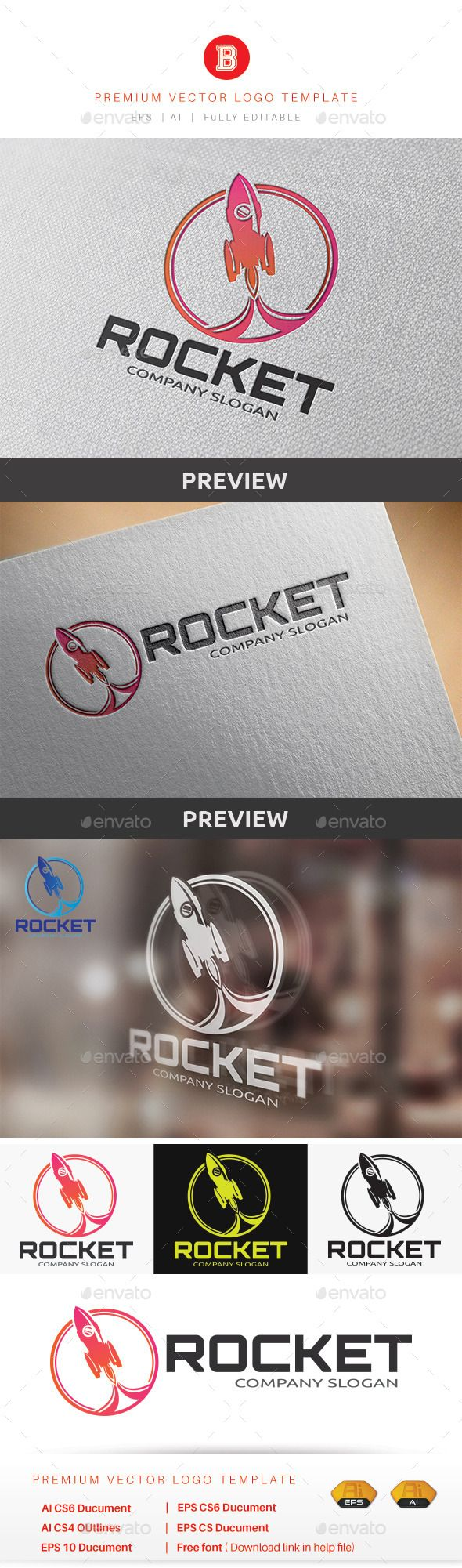 Rocket Logo — Vector EPS #fire #iconic • Available here → https://graphicriver.net/item/rocket-logo/9223849?ref=pxcr