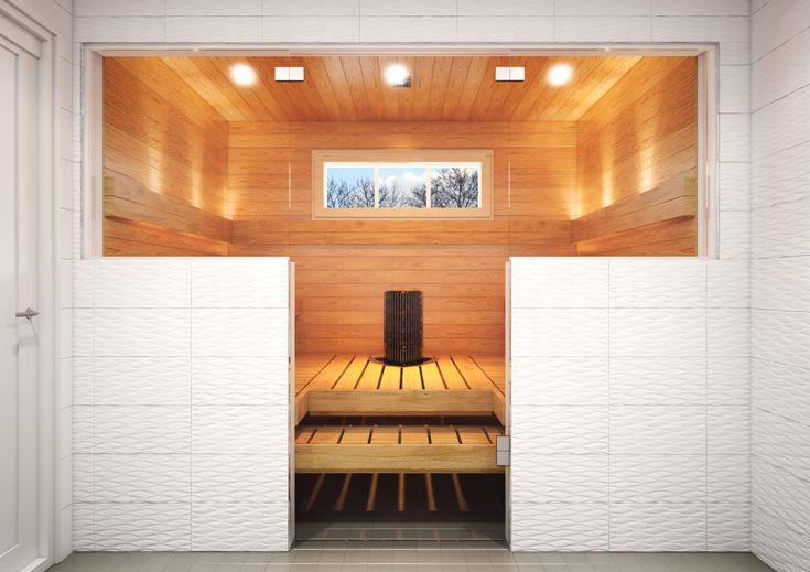 Moderni sauna toteutettiin Runsaasti kodikas -tyyliin.