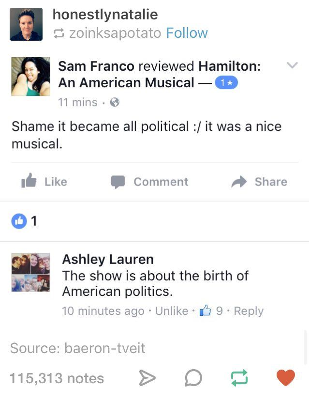 It's like... They don't understand... That the musical is political... Just proves that they don't have a brain