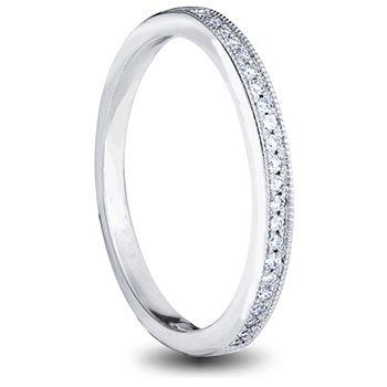 18ct white gold ladies wedding band with pave set diamonds