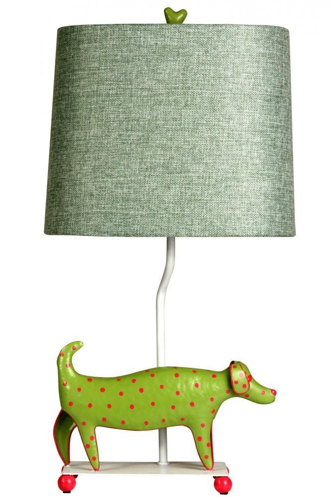 Style Craft Mini Iron Dog Lamp   Green Dog With Green Shade