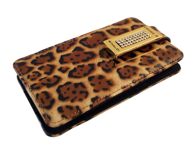 Panther pattern mobile phone protector is handmade in Italy. This trendy Cango & Rinaldi phone cover is decorated with golden color Swarovski crystals. Now your phone is protected from scratches and it moves with you in style. Mobile cover stretches a bit from the sides so little chocker phone is also protected with this case.