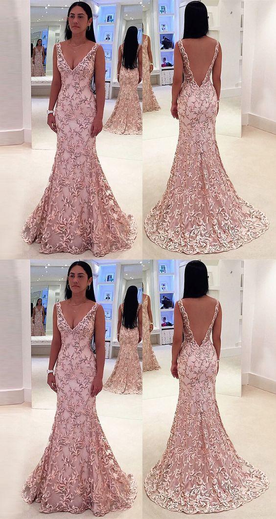 89573c7d0f545 Mermaid Deep V-Neck Sweep Train Pink Lace Backless Sleeveless Prom Dress  M2207