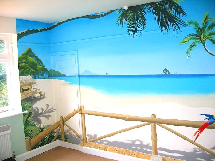 Tropical paradise mural thailand beach beach theme for Beach mural bedroom
