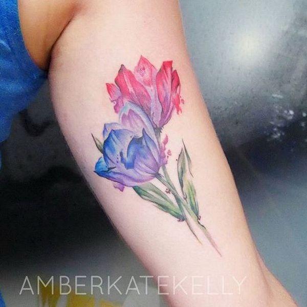 Delicate Purple and Pink Tattoo Design. 30+ Beautiful Flower Tattoo Designs.