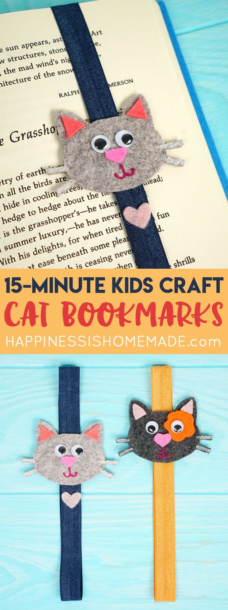 These Felt Cat Bookmarks are a quick and easy craft for kids that can be made in just 15 minutes, and they're a great way to use up leftover felt scraps! Customize your kitty bookmark to look like your favorite feline friend! via @hiHomemadeBlog