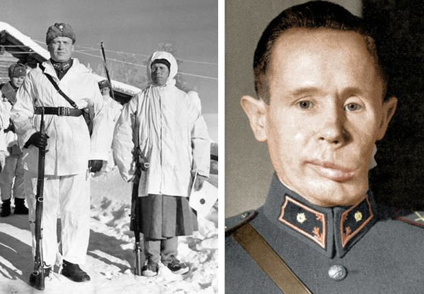 "Known as ""White Death"" Finish Army Sniper, Simo Häyhä's killing streak of 505 Soviet Invaders, in less than 100 days, came to an end when the sniper took an exploding bullet to the jaw. Häyhä subsequently fell into an 11-day coma and woke up March 13, 1940, on the very day the war ended."
