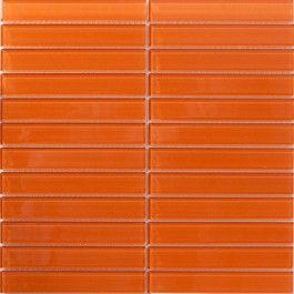 Sheet of 1x6 Inch Retro Burnt Orange Glass Subway Tile