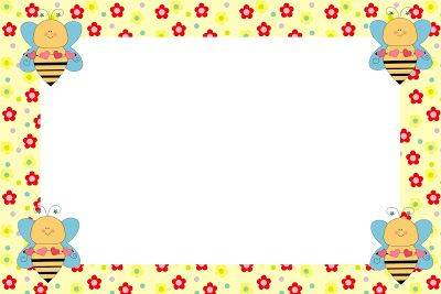 Abelhas e Flores – Kit Completo com molduras para convites, rótulos para guloseimas, lembrancinhas e imagens! |Fazendo a Nossa Festa