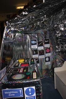 Space Pod -  This is just one photo - there are many more photos that shows the detail that this teacher went to in this role play area. Even I want to explore and play here!!