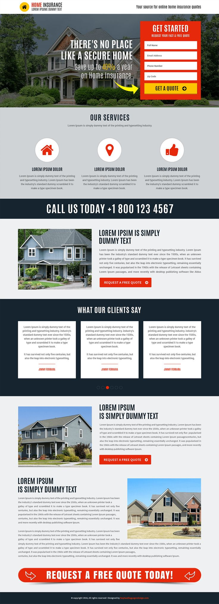 Responsive Home Insurance Landing Page Template $29 only BuyNow!