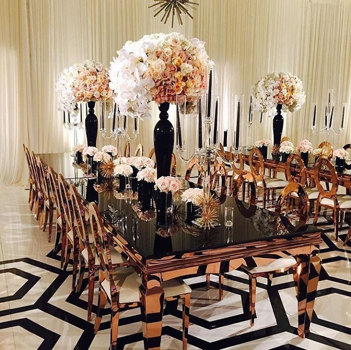 Inspiration for a modern black, white and copper reception ~ Amber Event Production
