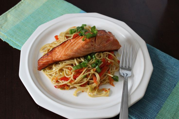 Soy-Ginger Salmon over Asian Veggie Noodles #seafood #pasta #TexanNewYorker