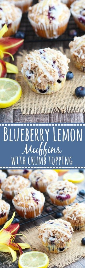 These scrumptious Blueberry Lemon Muffins with Crumb Topping are topped off with a Lemon Glaze for perfection in every bite...BEST MUFFINS EVER! #blueberrymuffins #blueberrylemonmuffins #breakfast #brunch