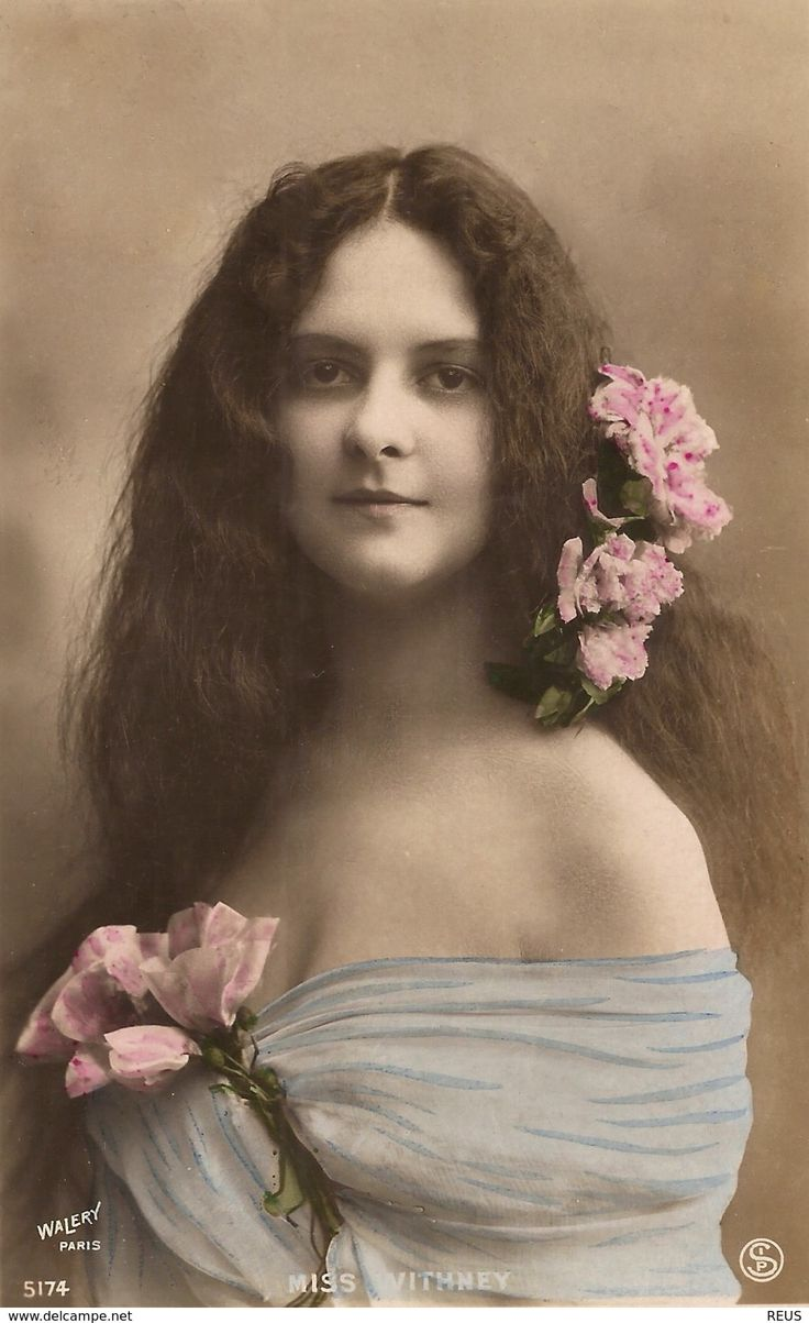 CPA WALERY PARIS ACTRICE THEATRE ANGLAISE MISS EDITH WHITNEY SUPERBE PORTRAIT EROTISME GLAMOUR FLEURS NYMPHE SEXY - Theatre