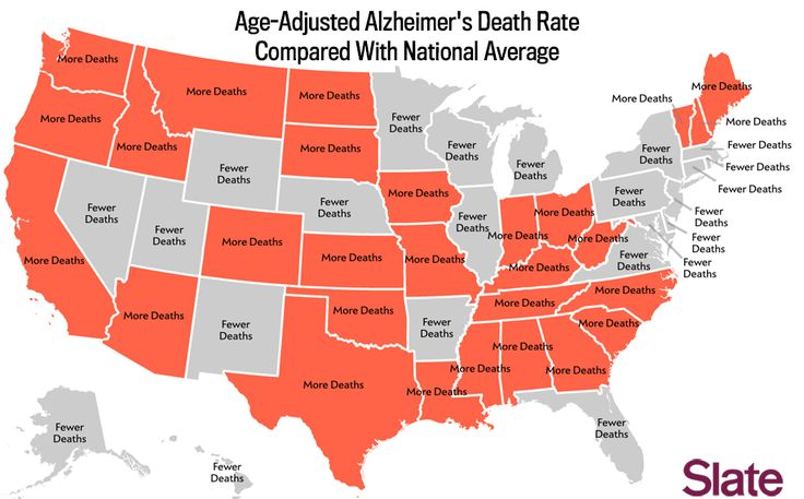 Age-Adjusted Alzheimer's Death Rate Compared With National Average