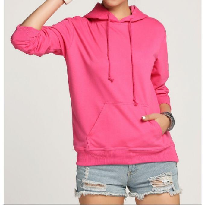 Sweat à capuche fashion poche en rose - bestyle29.com